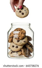 Hand in the cookie jar; isolated on white background