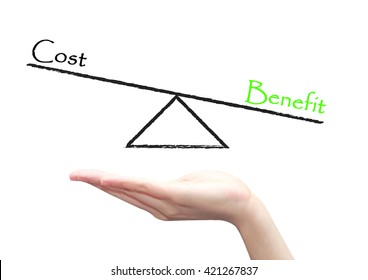 hand with cost benefit diagram concept