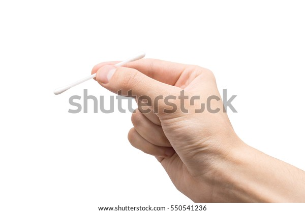 Hand with a cotton swab