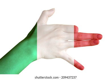 Hand covered in flag of Italy