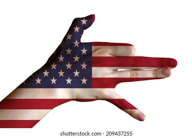 Hand covered in flag of USA