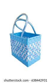 Hand craft plastic basket isolated white