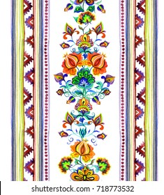 Hand crafted ethnic art of Eastern Europe - seamless floral frame with ornamental flowers and stripes. Watercolor
