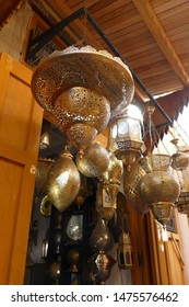 Hand crafted metal lamps in outdoor display in the medina of Fes, Morocco, Africa