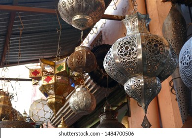 Hand crafted metal lamps in outdoor display in the medina  of Marrakech,  Morocco, Africa