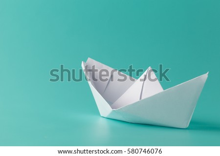 Hand Crafted Paper Boat On Aquamarine Stock Photo Edit Now
