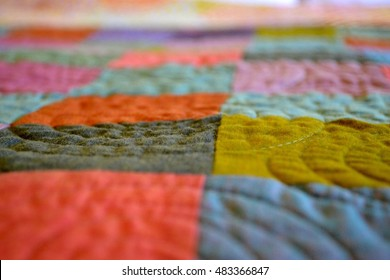 Hand crafted quilt in closeup detail