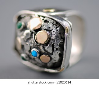Hand Crafted Silver Ring - Macro
