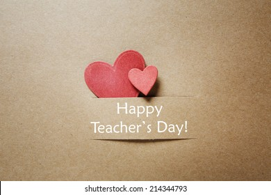 Hand crafted Teacher's Day greeting card with little red heats