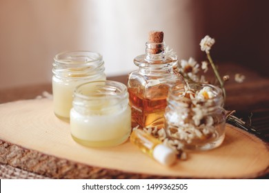 Hand cream and lip balm in a glass jar. Natural organic cosmetics