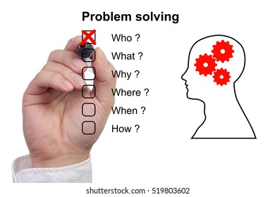 Hand crosses off the first item of a problem solving checklist on white background