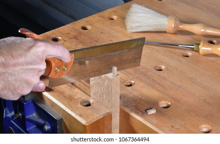 Hand cutting or sawing mortise and tenon woodworking joinery with a dovetail saw.  Oak board held by hard maple workbench vise.