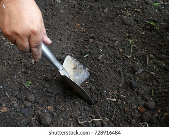 Hand digs black soil with a silver metal shovel.
