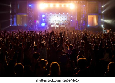 Hand up at the disco concert