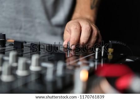 Hand Dj Playing Music Professional Sound Stock Photo Edit Now