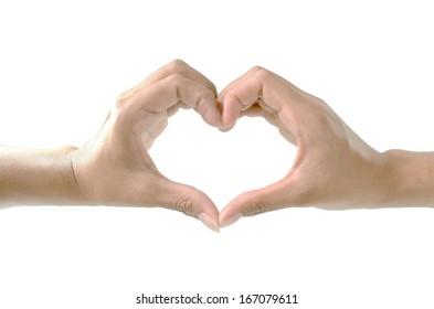 hand do heart on white background