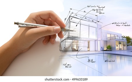 Hand drafting a design villa and the building becoming real 3D rendering