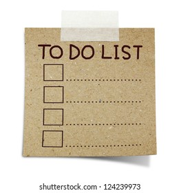 hand draw to do list on note taped recycle paper