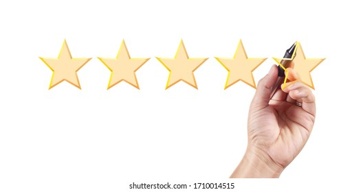 Hand draw five star rating. evaluation and review concepts