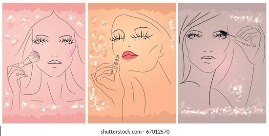 Hand draw Image of three woman apply makeup on her face.