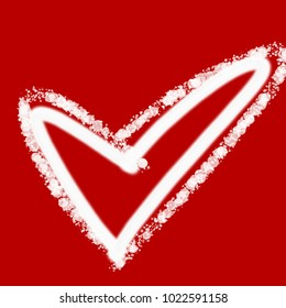 Hand draw the red heart shape on abstract red background. Sweet heart and romantic love moment. In love concept for Valentine's day. Calligraphy for 3D illustration and rendering with copyspace.