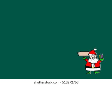 hand draw santa clause cartoon hold wooden prank board and gift box idea as for background