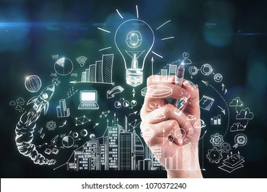 Hand drawing abstract business sketch on blurry background. Achievement and finance concept