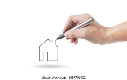 Hand drawing abstract a house
