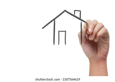 Hand drawing abstract house