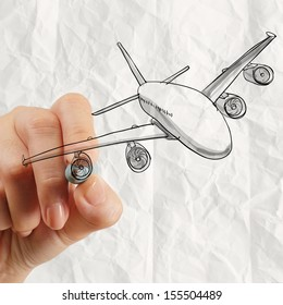 hand drawing airplane with crumpled paper background as concept