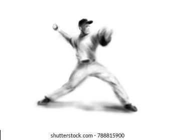 Hand drawing baseball player. Digital illustration