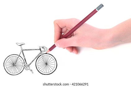 Hand drawing bicycle isolated on white
