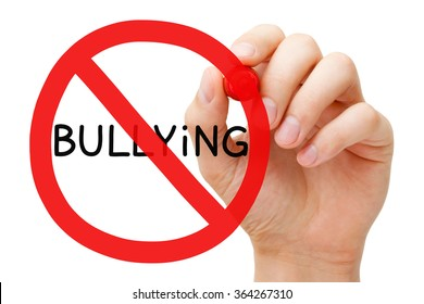 Hand drawing Bullying prohibition sign concept with red marker on transparent wipe board.
