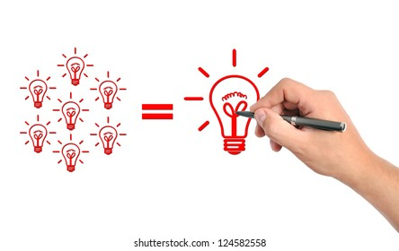 hand drawing business formula on a white background