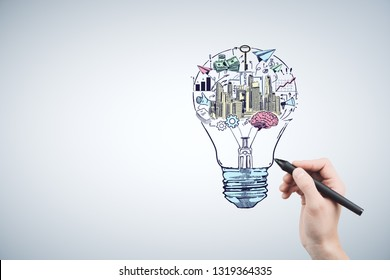 Hand drawing business idea concept.