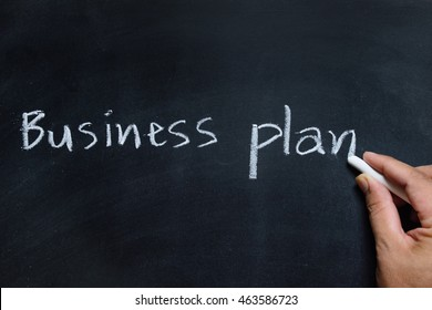 hand drawing of business plan on the blackboard