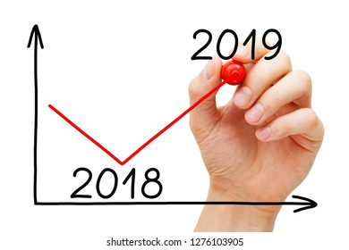 Hand drawing business recovery graph for year 2019 with marker on transparent wipe board isolated on white.