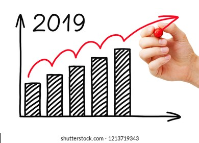 Hand drawing business success growth graph for year 2019 with marker on transparent wipe board isolated on white.