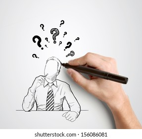 hand drawing businessman with question mark over head