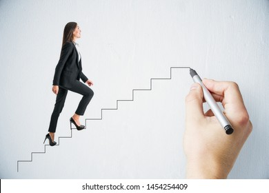 Hand drawing businesswoman walking up stairs on subtle background. Leadership and success concept