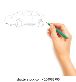 Hand drawing car isolated on white background
