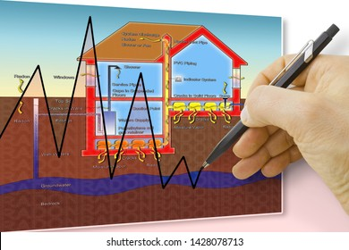 Hand drawing a chart about radon issue - concept image
