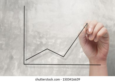Hand drawing a chart, graph of growth