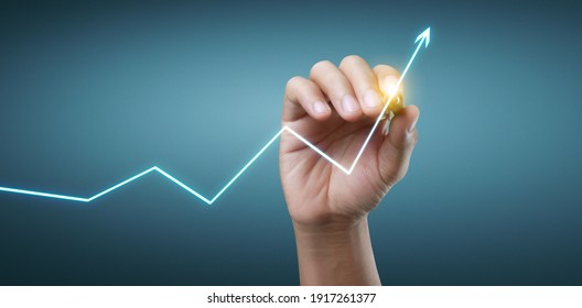 Hand drawing a chart, graph stock of growth