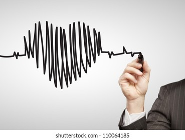 hand drawing chart heartbeat on a white background