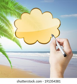 hand drawing cloud on sea background