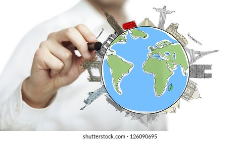 hand drawing colorized earth, traveling concept