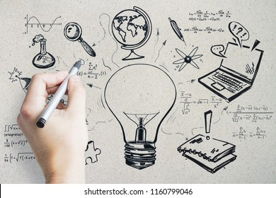 Hand drawing creative education sketch. Science, graduation and leadership concept