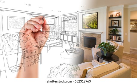 Hand Drawing Custom Living Room Design With Gradation Revealing Photograph.