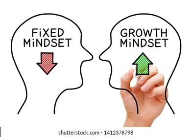 Hand drawing Fixed Mindset vs Growth Mindset success concept with black marker on transparent wipe board. - Shutterstock ID 1412378798
